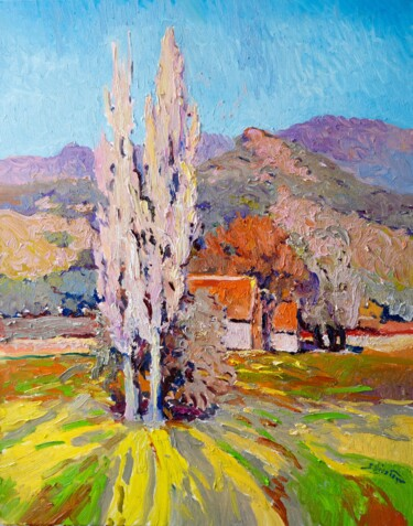"""Painting titled """"Landscape With Two…"""" by Suren Nersisyan, Original Art, Oil Mounted on Stretcher frame"""