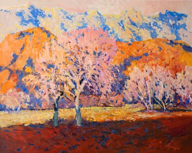 """Painting titled """"Two Trees at the Ag…"""" by Suren Nersisyan, Original Art, Oil Mounted on Stretcher frame"""