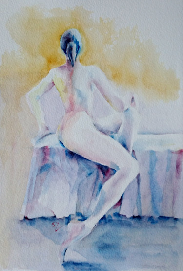 """Painting titled """"Nude 4"""" by Susana Zarate, Original Art, Watercolor"""