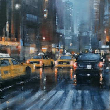 """Painting titled """"The city never slee…"""" by Alan Harris, Original Art, Acrylic"""