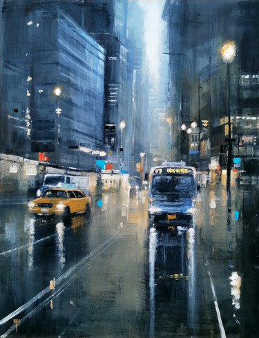 """Painting titled """"The Late Bus"""" by Alan Harris, Original Art, Acrylic"""