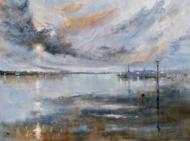 """Painting titled """"Margate Harbour"""" by Alan Harris, Original Art, Acrylic"""