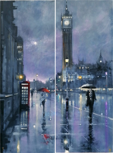"""Painting titled """"Westminster Night"""" by Alan Harris, Original Art, Acrylic"""
