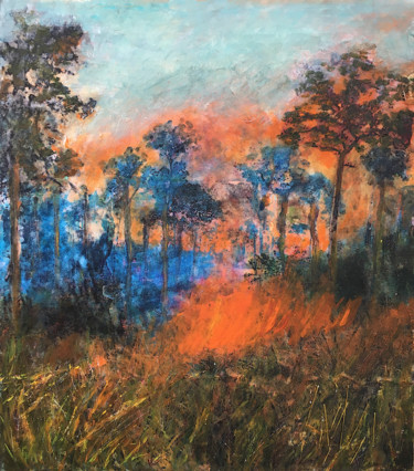 """Painting titled """"World on Fire"""" by Suzsi Corio, Original Art, Acrylic Mounted on Stretcher frame"""