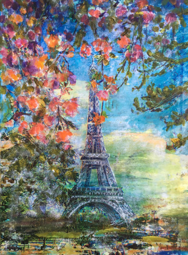 """Painting titled """"I Love Paris..."""" by Suzsi Corio, Original Art, Acrylic Mounted on Stretcher frame"""