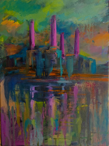 """Painting titled """"Battersea at Night"""" by Suzsi Corio, Original Art, Oil Mounted on Stretcher frame"""