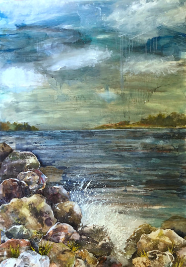 """Painting titled """"Down to the Sea aga…"""" by Suzsi Corio, Original Art, Oil"""