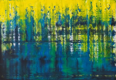 """Painting titled """"Reflets du lac"""" by Sophius, Original Art, Acrylic Mounted on Stretcher frame"""