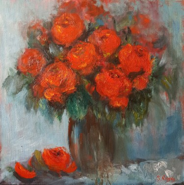 Flower Painting, oil, impressionism, artwork by Svetlana Grishkovec-Kiisky