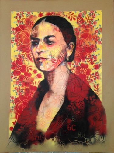 """Painting titled """"Icónica Frida"""" by Sycée, 6c, Original Art, Spray paint Mounted on Other rigid panel"""