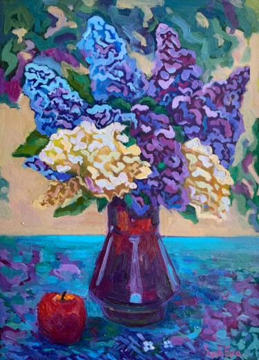 """Painting titled """"Abstract lilac Oil…"""" by Anastasia Sycheva, Original Art, Oil"""