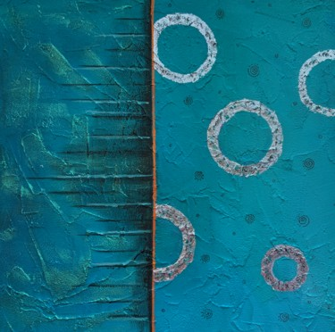 """Painting titled """"Abstract blue art"""" by Anastasia Sycheva, Original Art, Acrylic Mounted on Cardboard"""