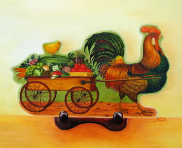 """Painting titled """"Rooster Express"""" by Sylvie Auvray Comin, Original Art, Oil"""