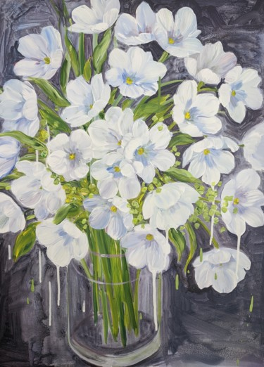 Flower Painting, acrylic, impressionism, artwork by Sylvie Carter