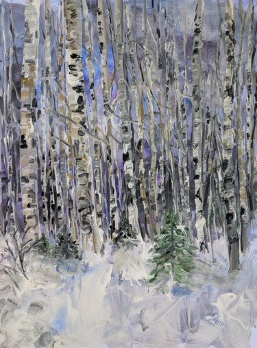 """Painting titled """"Winter Forest"""" by Sylvie Carter, Original Art, Acrylic"""