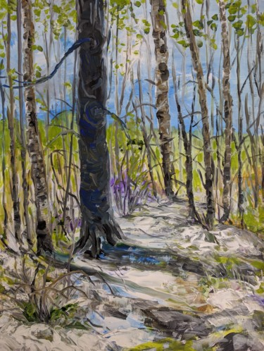 Forest Painting, acrylic, impressionism, artwork by Sylvie Carter