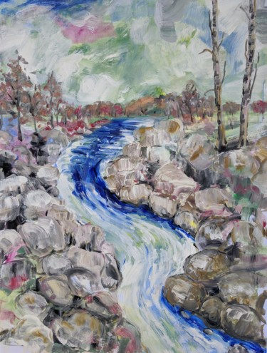 Mountainscape Painting, acrylic, expressionism, artwork by Sylvie Carter