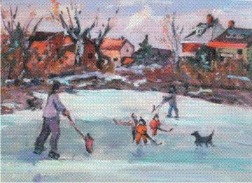 """Painting titled """"Let the Game Begin"""" by Sylvio Gagnon, Original Art,"""