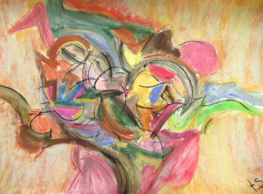 """Painting titled """"colourful"""" by Tom Schrijver, Original Art, Pastel"""