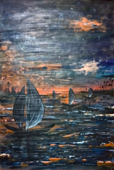 """Painting titled """"River Side Evening"""" by Taijul, Original Art, Acrylic"""