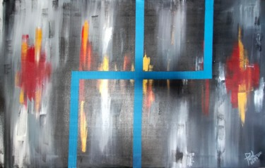"""Painting titled """"Blue line Golden Ci…"""" by Taijul, Original Art, Acrylic"""
