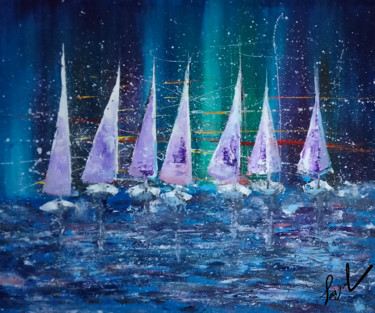 """Painting titled """"Seven Snow Ships"""" by Taijul, Original Art, Acrylic"""