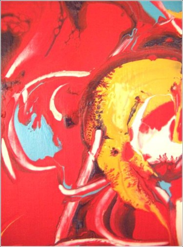 """Painting titled """"Red 03"""" by Delphine Bernard, Original Art,"""