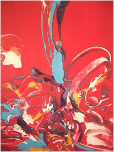 """Painting titled """"Red 04"""" by Delphine Bernard, Original Art,"""