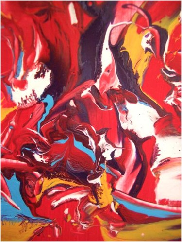 """Painting titled """"Red 05"""" by Delphine Bernard, Original Art,"""