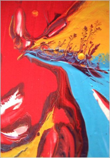 """Painting titled """"Red 08"""" by Delphine Bernard, Original Art,"""