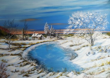 """Painting titled """"Winter landscape."""" by Tali Segev, Original Art, Acrylic Mounted on Stretcher frame"""