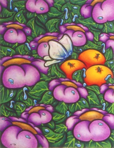 """Drawing titled """"Purple Flower Poster"""" by Karin French, Original Art,"""
