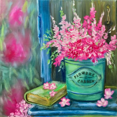 """Painting titled """"Flowers Garden , ar…"""" by Tanya Dulac, Original Art, Oil"""