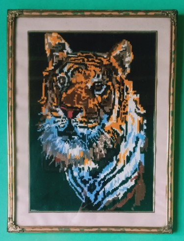 """Painting titled """"Tiger painting by h…"""" by Tariq Aziz, Original Art, Embroidery"""