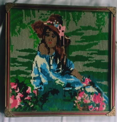 """Painting titled """"A Young Lady Painti…"""" by Tariq Aziz, Original Art, Embroidery"""