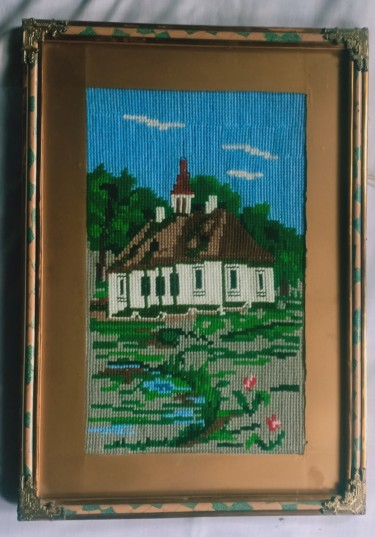 """Painting titled """"Small house with ga…"""" by Tariq Aziz, Original Art, Embroidery"""