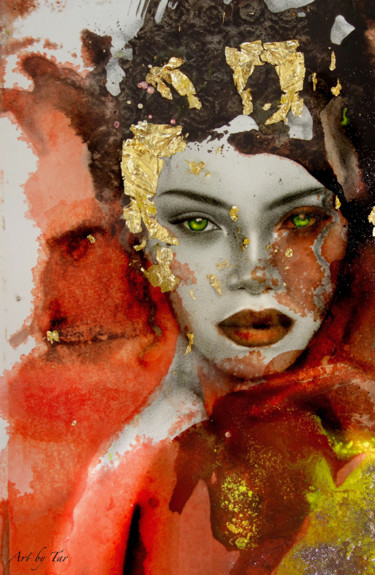 """Painting titled """"She was on a journe…"""" by Art By Tar (Www.Artbytar.Nl), Original Art, Graphite Mounted on Plexiglass"""