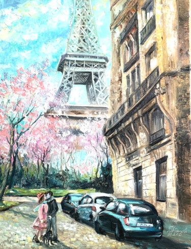 """Painting titled """"Paris Oil Painting…"""" by Tatyana Ustyantseva, Original Art, Oil Mounted on Stretcher frame"""