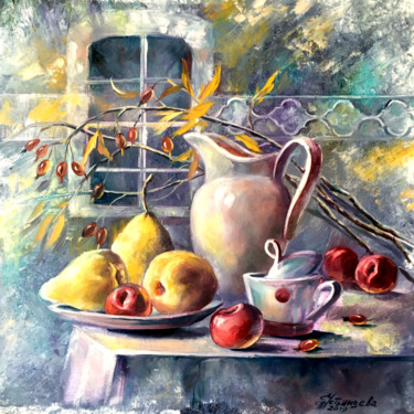 """Painting titled """"Pears and plums sti…"""" by Tatyana Ustyantseva, Original Art, Oil"""
