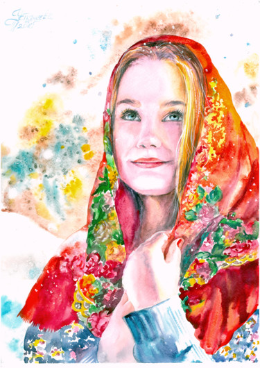 """Painting titled """"""""The girl in the re…"""" by Tatyana Ustyantseva, Original Art, Watercolor"""