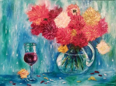 """Painting titled """"Asters in a glass j…"""" by Tatiana Kril, Original Art, Oil"""