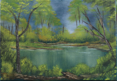 """Painting titled """"Green park"""" by Tanja Frost, Original Art, Oil Mounted on Stretcher frame"""