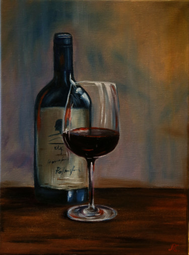 """Painting titled """"Red wine 2"""" by Tanja Frost, Original Art, Oil Mounted on Stretcher frame"""