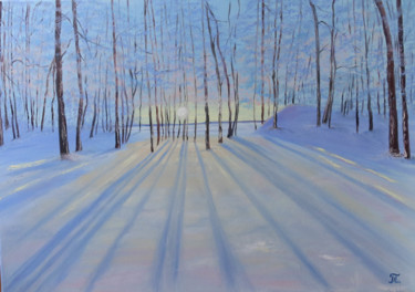 """Painting titled """"Winters forest"""" by Tanja Frost, Original Art, Oil Mounted on Stretcher frame"""