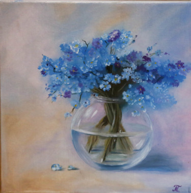 """Painting titled """"Forget-me-not. Oil…"""" by Tanja Frost, Original Art, Oil Mounted on Stretcher frame"""