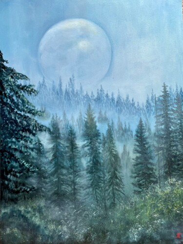 """Painting titled """"Moon - original oil…"""" by Tanja Frost, Original Art, Oil Mounted on Stretcher frame"""