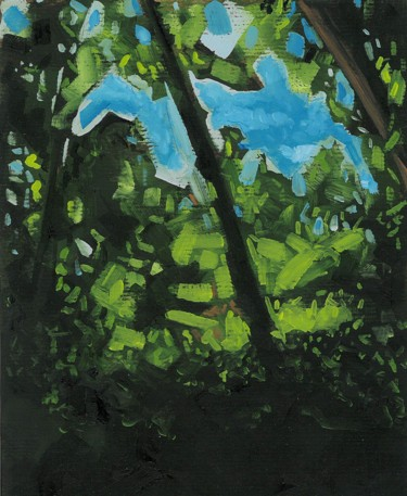 Forest Painting, oil, expressionism, artwork by Thibaut Dapoigny
