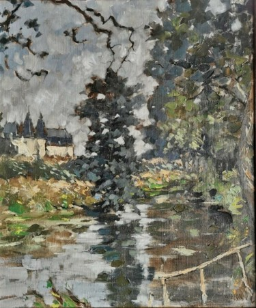 Landscape Painting, oil, expressionism, artwork by Thierry Warion