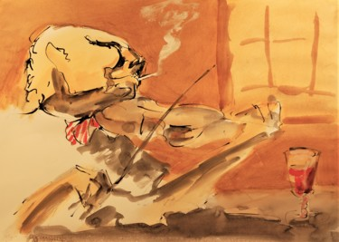 Music Drawing, gouache, expressionism, artwork by Thierry Faure