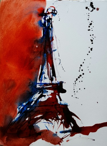 """Painting titled """"Eiffel tower"""" by Thierry Mathieu, Original Art, Acrylic"""